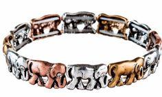 NWT Multi Color Metal Single Row Parade of Elephants Stretch Bracelet #RainJewelryCollection #StretchBangle