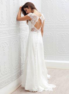 A-linjeformat Rund-urringning Sweep släp Chiffong Spetsar Bröllopsklänning (0025059921) - vbridal