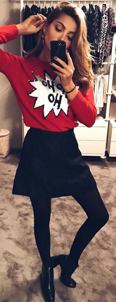 #winter #outfits red printed crew-neck sweater; black skirt