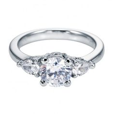Classic Three Stone Engagement Ring Setting with Pear Shape Sidestones