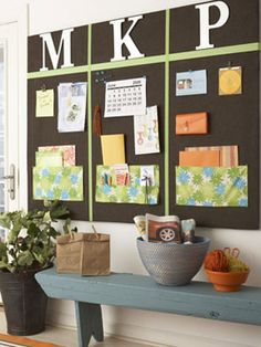 I want to do this for my craft room with some fun fabric and ribbon! Love the pockets at the bottom:)
