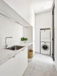 34 ideas for bath room design small white laundry rooms Modern Laundry Rooms, Laundry In Bathroom, Laundry In Kitchen, Laundry Cabinets, Zen Bathroom, Mermaid Bathroom, Basement Laundry, Bathroom Modern, Modern Room
