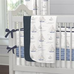 Blue Ocean Sailboats Crib Bedding by Carousel Designs.