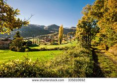 autumnal landscape in Taro valley in a sunny day - stock photo