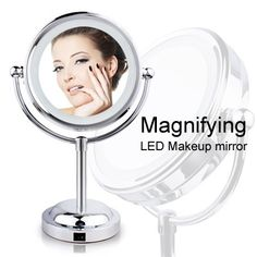 [S$10.90]▶Magical Magnifying Makeup Mirror◀ GDA-Double-sided magnifying LED makeup mirror / Magnifies 3 times original image / Two styles of Magic mirror available