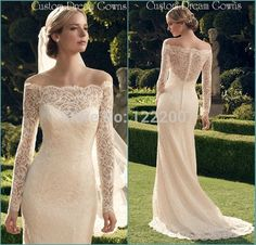 Romantic 2015 Off the Shoulder Illusion Ivory Lace Long Sleeve Wedding Dresses Sexy Long Bridal Gown Vestidos De Novia Satin