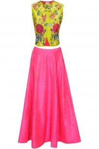 Lime green bird embroidered short jacket with pink skirt lehenga