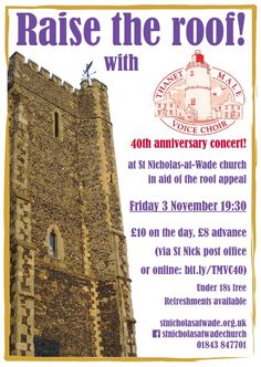 """Raise the Roof"" concert with Thanet Male Voice Choir at St Nicholas-at-Wade church, 3 November 2018 - poster"