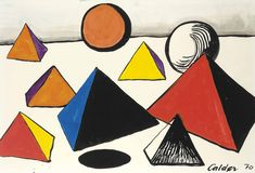 Alexander Calder , Pyramids and Worlds Alexander Calder, Abstract, World, Drawings, Watercolors, 1970s, Artwork, Summary, Water Colors