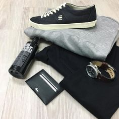 a little bit of a closer look and all the details. // Hugo Boss Green label light weight sweater Farah Black skinny jeans G-Star trainers Lacoste wallet Diesel watch and Mr Black denim refresh.