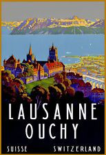 TT70 Vintage Lausanne Ouchy Swiss Switzerland Travel Poster A3/A2