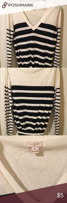 Navy and White J Crew V-Neck Sweater Navy blue and white striped v-neck J Crew sweater J. Crew Factory Sweaters Cardigans