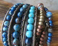 Boho Leather Wrap Bracelet Three Wrap от OrnamentationbyMary