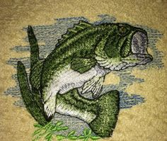 Embroidered Bass Fish towel sets with free by TheHappyvibe on Etsy, $20.00