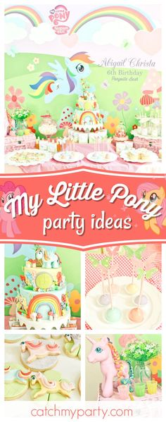 Take a look at this pretty My Little Pony birthday party! The birthday cake is incredible!! See more party ideas and share yours at CatchMyParty.com #mylittleponys  #girlbirthday