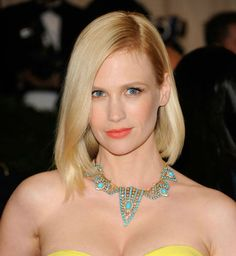 Red Carpet Hair, January Jones, Red Carpet Fashion, Get The Look, Turquoise Necklace, Strapless Dress, Style Inspiration, Couture, Celebrities