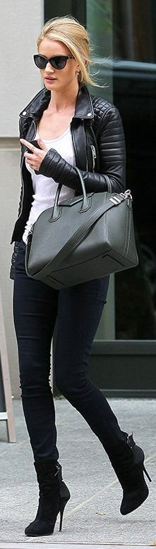 Rosie Huntington-Whiteley's street style: black leather jacket, skinny jeans, cat sunglasses, and green handbag