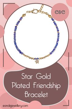 Star Gold Plated Friendship Bracelet: The lobster clasp offers adjustability, and the variety of colourful stones you can pick from make this Star Gold Plated Friendship Bracelet the perfect statement piece for all ages! Heart Chain, Tiny Star, Silver Cat, Bridesmaid Bracelet, Gold Plated Bracelets, Sterling Silver Flowers, Chain Earrings, Blue Beads, Lobster Clasp