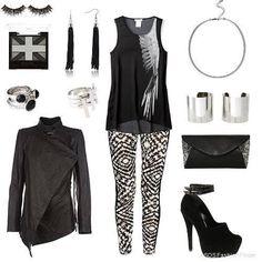 Black Leather Jacket + Black top + Printed Leggings + Black Heels + Black handbag