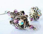 Sterling Silver Bundled Wire Earrings | Amethyst and Blush Pink Czech Glass with Electroplated Hematite
