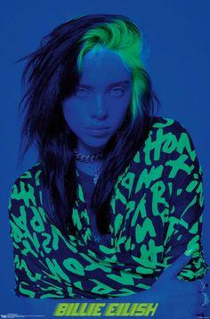 Billie Eilish, Bad Girl Aesthetic, Blue Aesthetic, Aesthetic Beauty, Japon Illustration, Blue Poster, Photo Wall Collage, Celebs, Celebrities