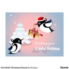 Cute Birds Christmas Present Postcard #cutecard #bird #present #gift #funnycard #funybird #christmas #christmascard