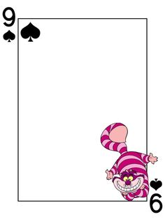 "Journal Card - Cheshire Cat - Alice in Wonderland - Playing Card. Adjust width to 8"" and height to 10.667"" and the image will fit nicely onto A4 paper."