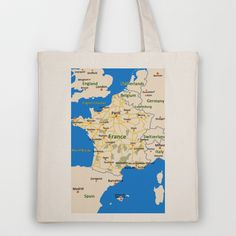 France map design Tote Bag by Efratul - $18.00