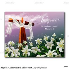 """Rejoice. Christ is Risen"". Religious Christian Easter Postcards. Matching cards, postage stamps and other products available in the Holidays / Easter Category of the artofmairin store at zazzle.com"