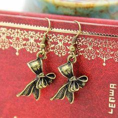 Fashion Retro Vintage Antique Bronze Butterfly Dangle Hook Earrings