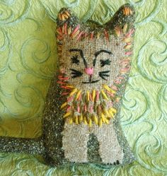 Forest Cat Fabric toy by Kathryn Davis