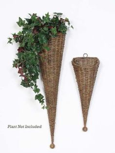 Pack of 4 Spring Serenity Brown Rattan Cone Shaped Wall Hanging Pocket Baskets Willow Weaving, Basket Weaving, Baskets On Wall, Hanging Baskets, Wall Basket, Old Wicker, Bountiful Baskets, Paper Weaving, Newspaper Crafts