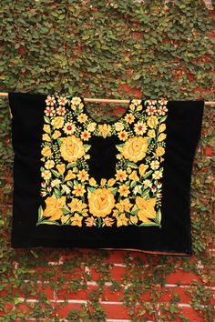 Beautiful Black and yellow Vintage Huipil from Oaxaca by CasaOtomi Mexico, Tenango, mexican wedding, textile, mexican suzani, suzani, embroidery, hand embroidered, otomi, www.casaotomi.com, otomi, table runner, fiber art, mexican, handmade, original, authetic, textile , mexico casa, mexican decor, mexican interior, frida, kahlo, mexican folk,  folk art, mexican house, mexican home, puebla collection, las flores, travel tote, boho, tote, handbag, purse, cushion, serape