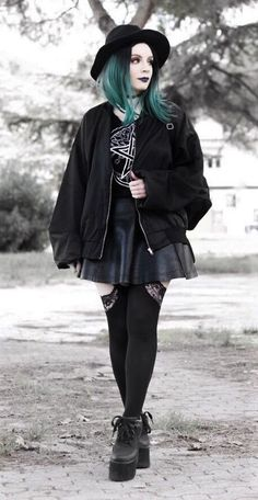 Round hat with choker, bomber jacket, skirt, backpack, black pants & platform shoes by vanillasyndrome