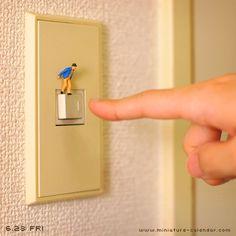 Danger switch / Miniature art by Tanaka Tatsuya Miniature Photography, World Photography, Creative Photography, Minis, Miniature Calendar, All The Small Things, Mini Craft, Still Life Photos, Tiny World