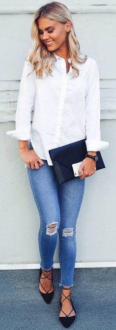 #spring #fashion #outffitideas | White Shirt + Denim Source