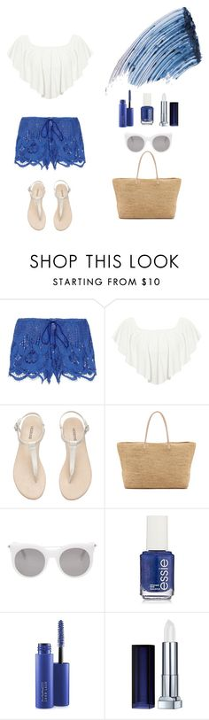 """""""Blue Madison White"""" by ashley-may-97 ❤ liked on Polyvore featuring Miguelina, WearAll, Hat Attack, Alexander McQueen, OPI, MAC Cosmetics, Maybelline and Sisley - Paris"""