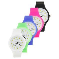 The Time For Tennis Watch features a colorful strap made of eco-friendly soft silicone, large face with fun tennis graphics, and stainless steel back and buckle. Watch is water resistant and features Quartz movement.
