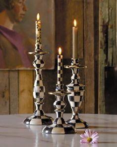 -4ML9 MacKenzie-Childs  Large Courtly Check Candlestick Small Courtly Check Candlestick