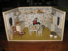 Antique Art Deco German Miniature Kitchen Room,