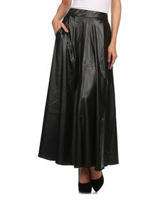 Look at this #zulilyfind! Blue Night Black Shine A-Line Maxi Skirt by Blue Night #zulilyfinds