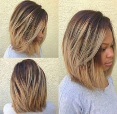 Ombre Long Bob Haircut for Black Women - Thick Hair Styles