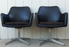 Mid Century Modern Pair Black Leather Club Mad Men Goodform GF Egg Aluminum Swivel Mid Century 1950's vinyl Office Furniture Dr. Who