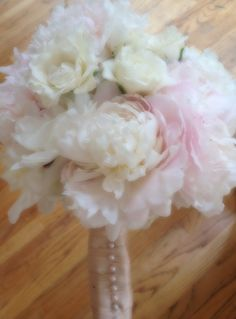 Bridal bouquet- White  peonies and blush stem roses. THIS IS MY BOUQET!! So gorgeous, I absolutely adored it.