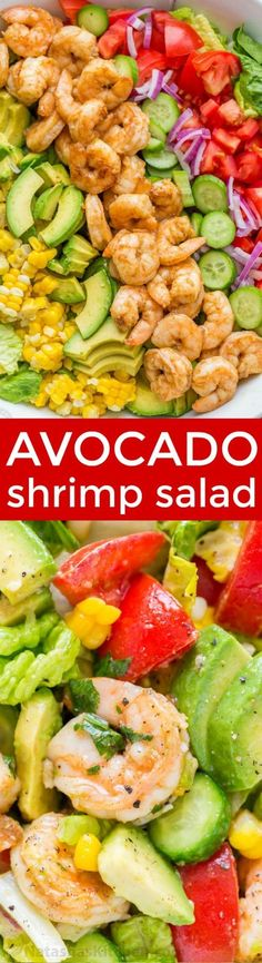 Avocado Shrimp Salad Avocado Shrimp Salad Recipe with cajun. Avocado Shrimp Salad Avocado Shrimp Salad Recipe with cajun shrimp and the best flavors of summer. The cilantro lemon dressing gives this shrimp salad incredible fresh flavor! Shrimp Avocado Salad, Shrimp Salad Recipes, Salad Recipes Video, Avocado Recipes, Healthy Salad Recipes, Seafood Recipes, Mexican Food Recipes, Dinner Recipes, Cooking Recipes