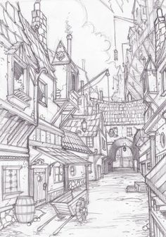 landscape drawings Stormspyre Streets 1 by on deviantART Landscape Sketch, Landscape Drawings, Fantasy Landscape, Town Drawing, House Drawing, Art Sketches, Art Drawings, Drawings Of Buildings, Cityscape Drawing