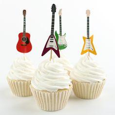 24 pcs Rock musique guitare cas Supply parti bande dessinée mode musique Tool Design Cupcake Topper Pick pour Kids Party Favors dans Accessoires pour fêtes et réceptions de Maison & Jardin sur AliExpress.com | Alibaba Group