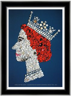 The Queen in celebration of her Diamond Jubilee, A3 giclee poster designed using vintage buttons