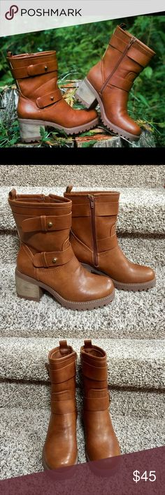 Mudd Women's Heeled Moto Boots Mudd mid calf cognac boots. Bought for family fall pics but didn't wear them. NWOT. Mudd Shoes Combat & Moto Boots