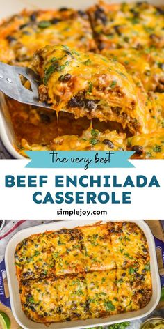 Beef Enchilada Casserole is a delicious and comforting recipe that you will love. It comes together quicker than traditional enchiladas, but is still amazing with my homemade enchilada sauce. Enchilada Casserole Beef, Homemade Enchilada Sauce, Homemade Enchiladas, Beef Enchiladas, Casserole Recipes, Healthy Eating Recipes, Healthy Cooking, Mexican Food Recipes, Cooking Recipes